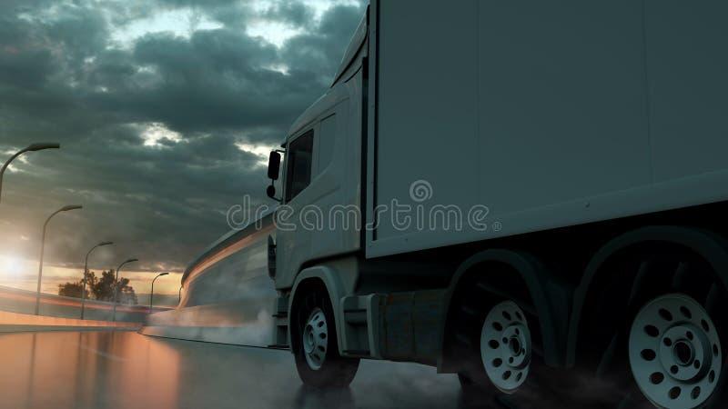 ?ka lastbil att rusa p? huvudv?gen, sidosikt Trans. s?ndningsbranschbegrepp illustration 3d vektor illustrationer