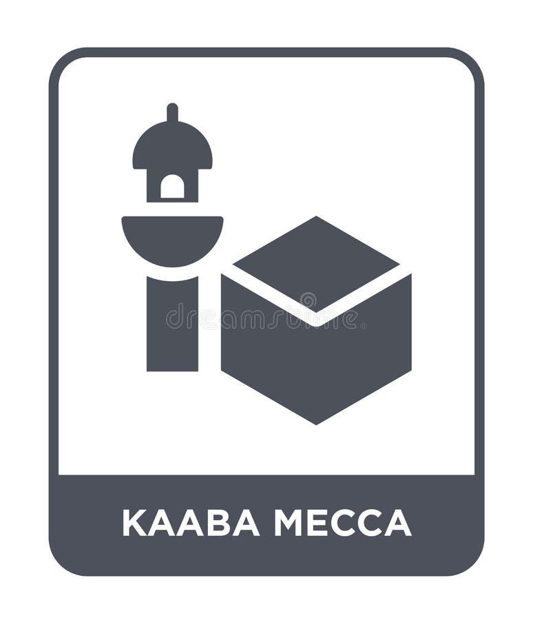 kaaba在时髦设计样式的麦加象 kaaba在白色背景隔绝的麦加象 kaaba麦加现代传染媒介的象简单和 皇族释放例证
