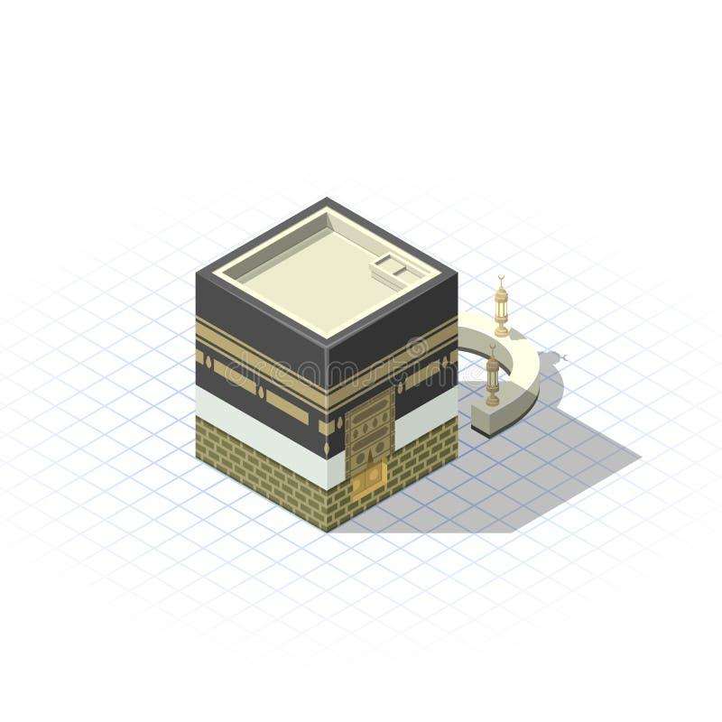 Kaaba isométrico la mezquita sagrada musulmán en la ciudad santa de La Meca ilustración del vector