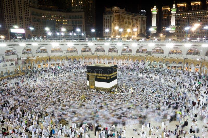 Kaaba in Mecca Saudi Arabia nachts lizenzfreies stockbild