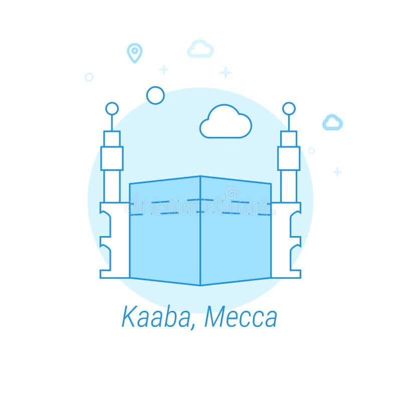 Kaaba Mecka, Saudiarabien plan vektorillustration, symbol Ljust - blå monokrom design Redigerbar slaglängd stock illustrationer