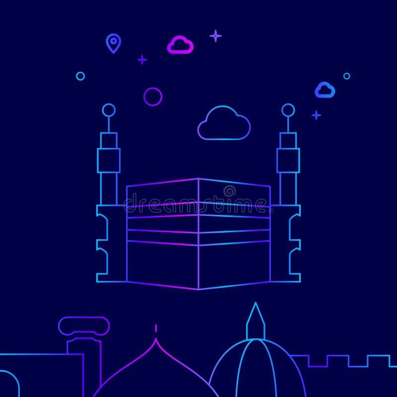 Kaaba Mecka, Saudiarabien vektorlinje symbol, illustration på ett mörkt - blå bakgrund Släkt nedersta gräns royaltyfri illustrationer