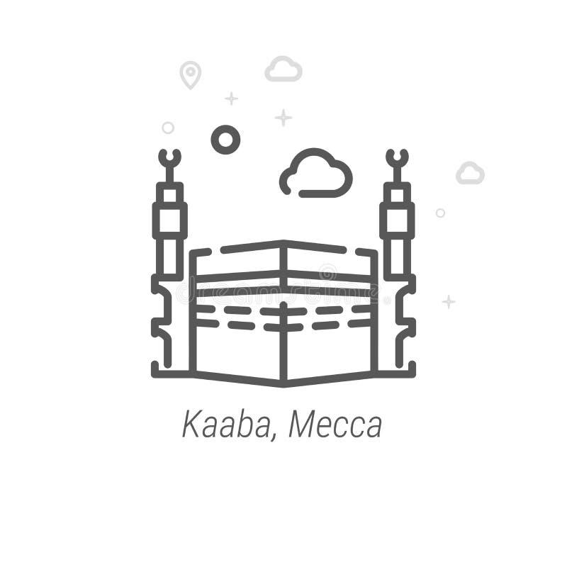 Kaaba Mecka, Saudiarabien vektorlinje symbol, symbol, Pictogram, tecken geometrisk abstrakt bakgrund Redigerbar slaglängd royaltyfri illustrationer