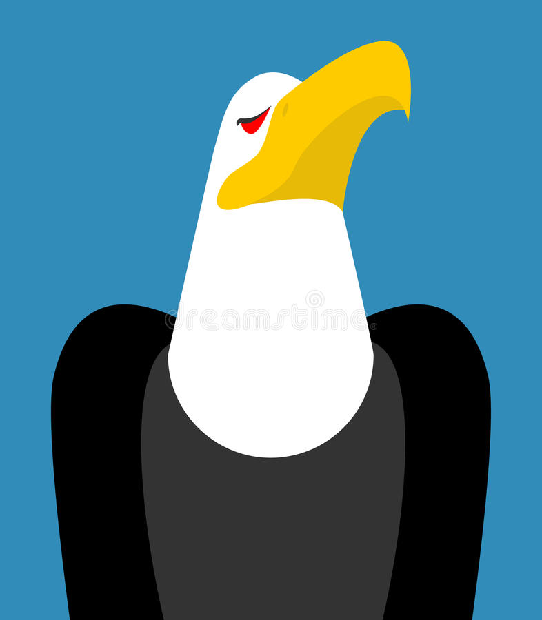 Kaal geïsoleerd adelaarshoofd Vogel een adelaarsgezicht op witte backgroun royalty-vrije illustratie