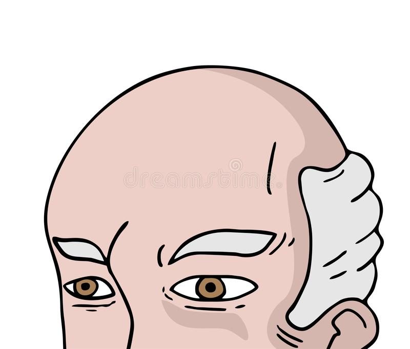 Kaal oud mensengezicht royalty-vrije illustratie