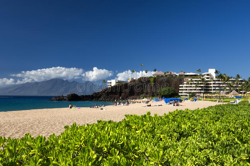 Kaanapali Beach, Black Rock in the distance, Maui, Hawaii. Kaanapali Beach on a sunny day, Maui, Hawaii stock image