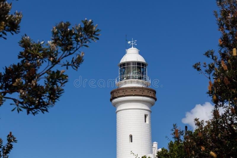 Kaap Byron Light, Nieuw Zuid-Wales stock foto's