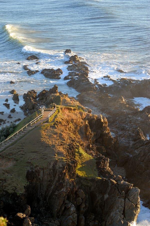 Kaap Byron in ochtendzonsopgang stock afbeelding