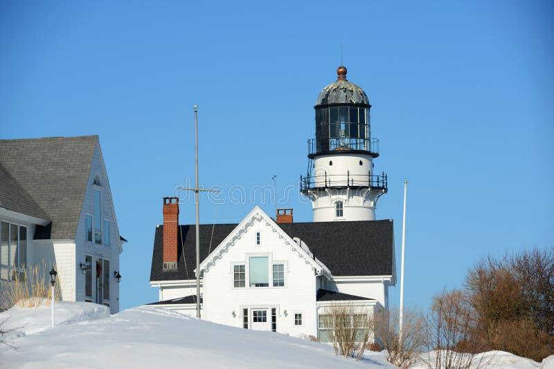 Kaap Elizabeth Lighthouse, Maine stock foto's