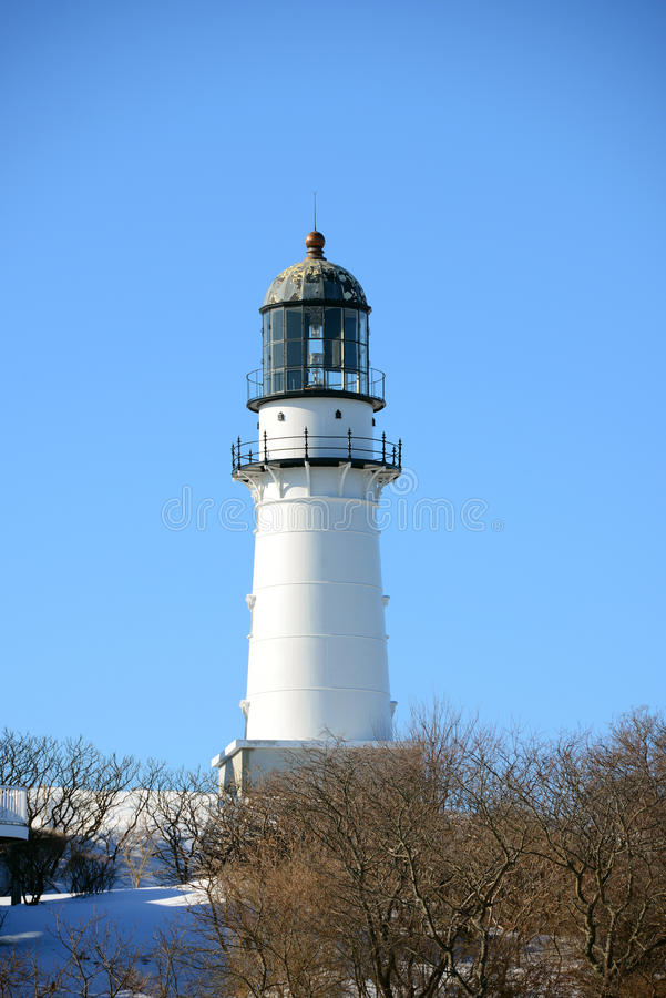 Kaap Elizabeth Lighthouse, Maine stock foto