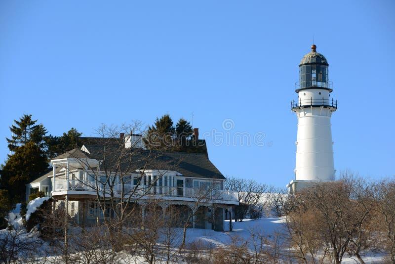Kaap Elizabeth Lighthouse, Maine stock afbeeldingen