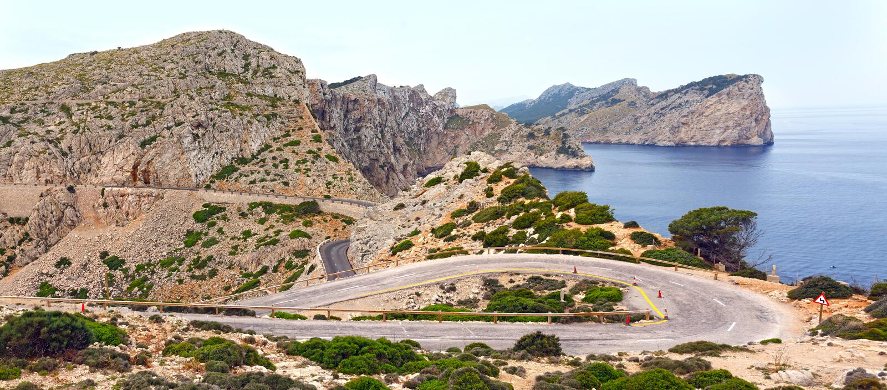 Kaap Formentor op eiland Majorca, Spanje stock afbeeldingen