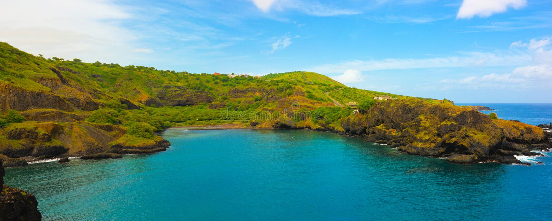 Kaapverdië, Santiago Island Bay, Kustlijnlandschap, Planeet royalty-vrije stock fotografie