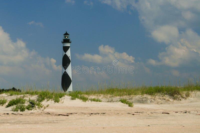 Kaapvooruitzicht, de vuurtoren van Noord-Carolina van het strand op een sunn stock foto