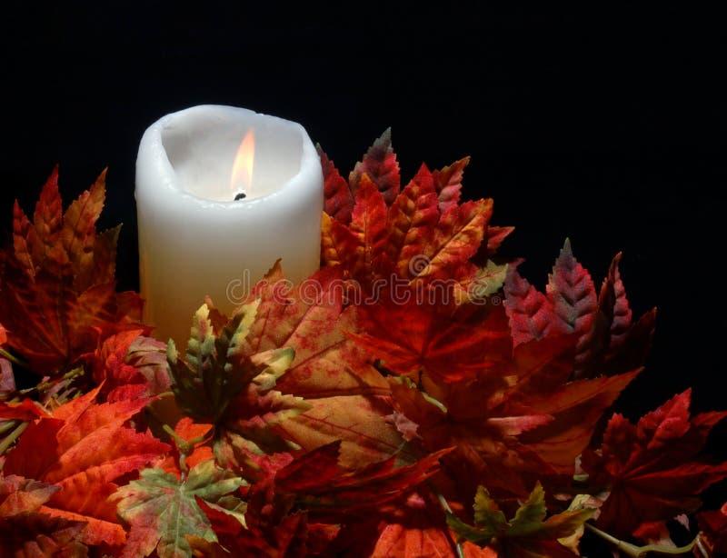 Kaars in de Bladeren van de Herfst stock foto