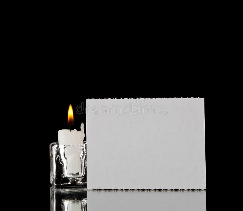 Kaars en adreskaartje royalty-vrije stock afbeelding