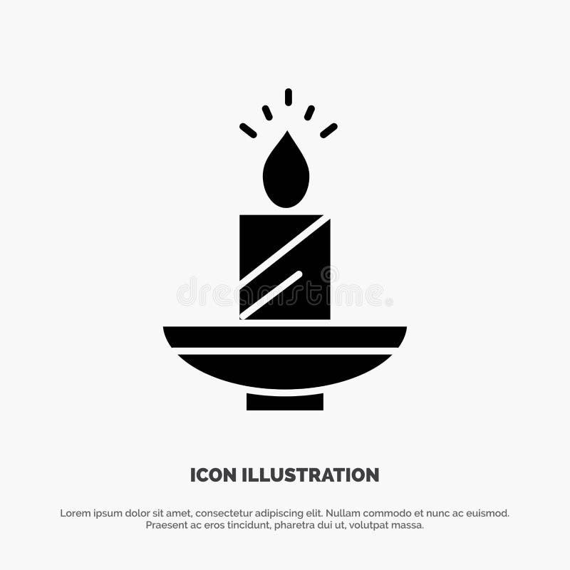 Kaars, Kerstmis, Diwali, Pasen, Lamp, Licht, het Pictogramvector van Was stevige Glyph vector illustratie