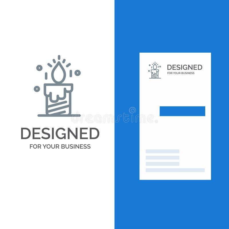 Kaars, Licht, Huwelijk, Liefde Grey Logo Design en Visitekaartjemalplaatje vector illustratie
