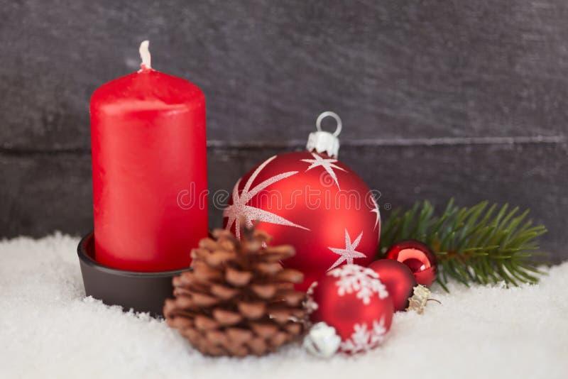 Kaars voor komst of Kerstmis stock afbeelding