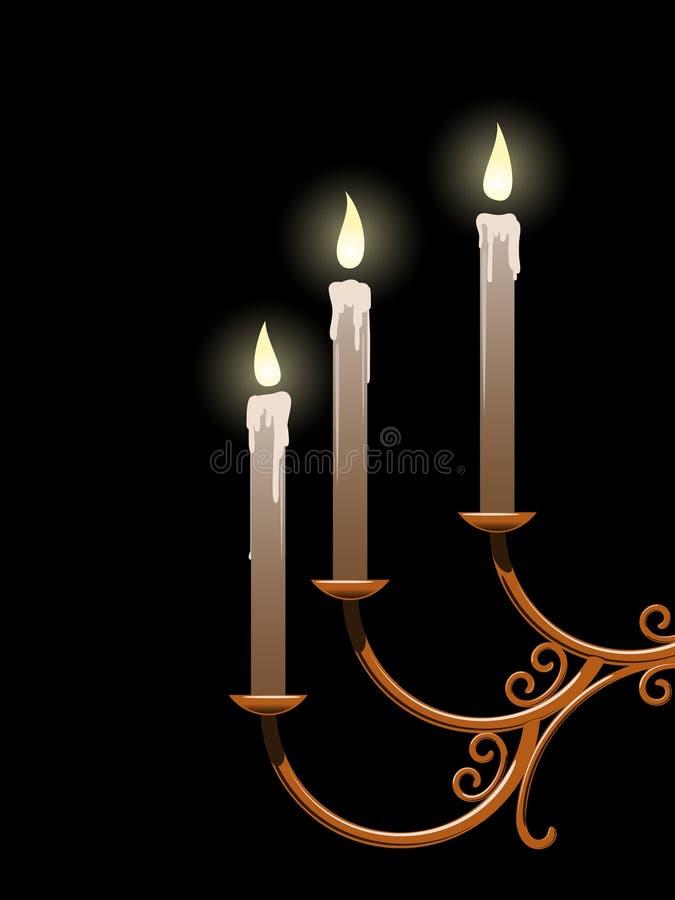 Kaarsen en kandelaar royalty-vrije illustratie