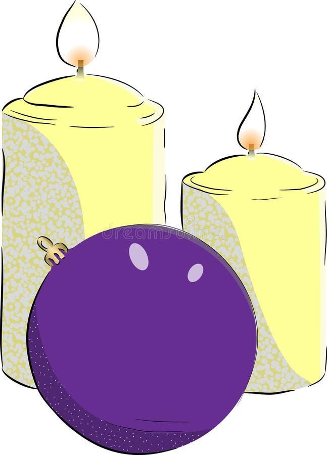 Kaarsen en Kerstmisbal royalty-vrije stock afbeelding