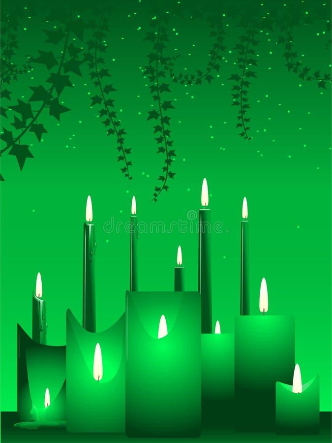Kaarsen en klimop royalty-vrije illustratie