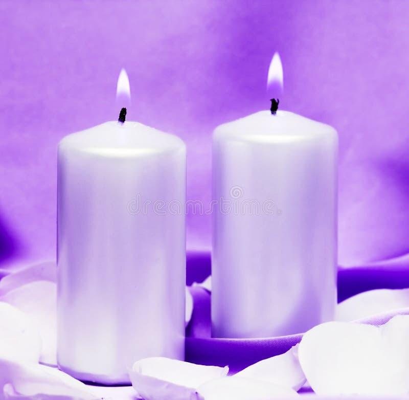 Kaarsen met bloem royalty-vrije stock foto
