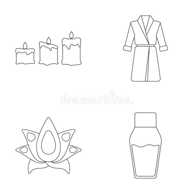 kaarsen met een vlam, een robe met een riem, een lotusbloembloem met bloemblaadjes, een fles room De reeks van het kuuroord royalty-vrije illustratie