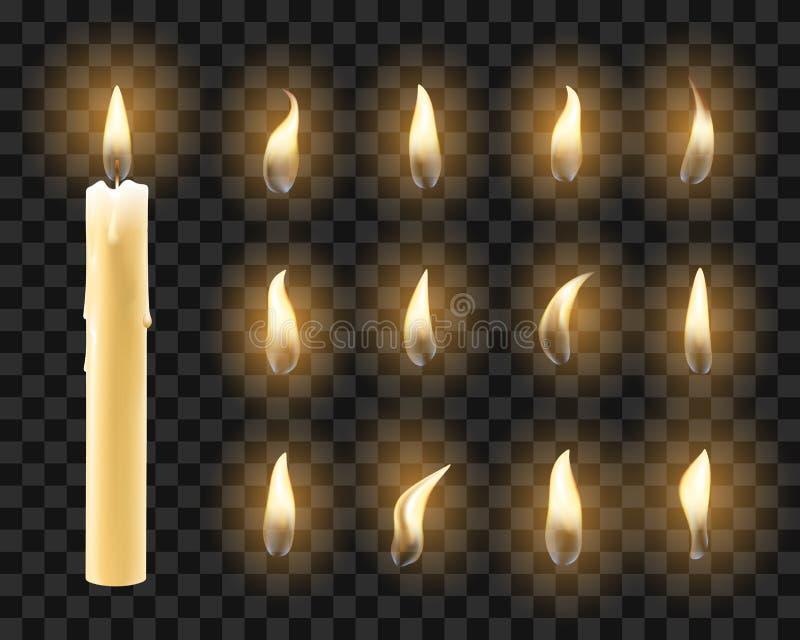 Kaarsen met warm kaarslicht royalty-vrije illustratie