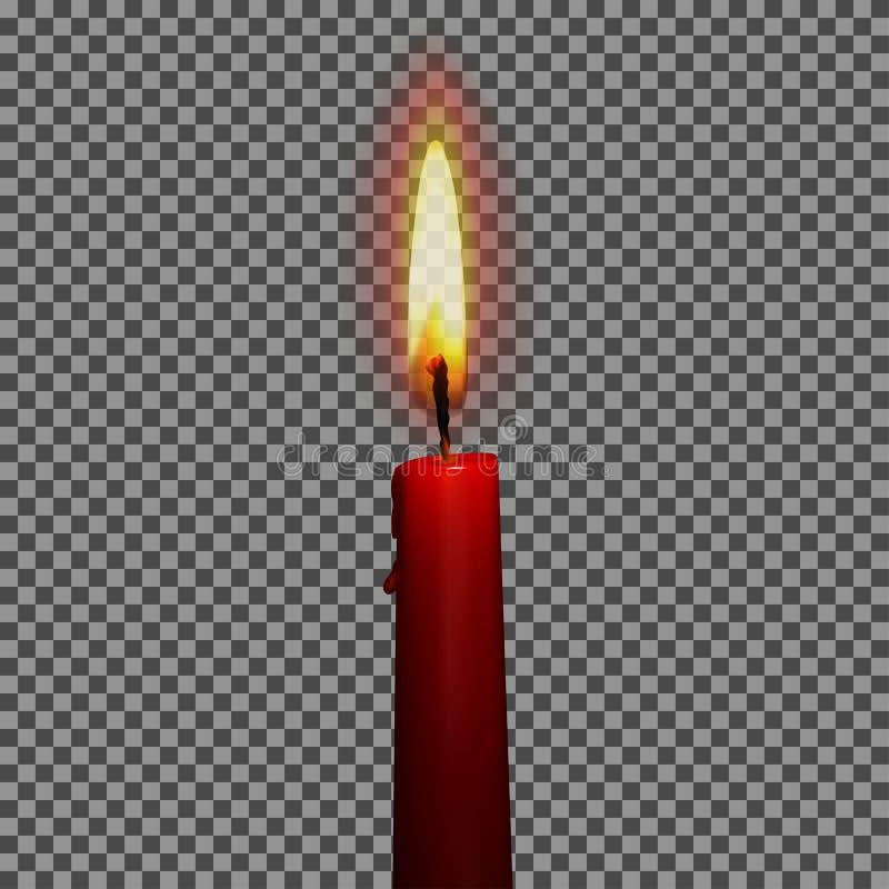 Kaarsen realistische 3d reeks op transparante vectorillustratie als achtergrond vector illustratie