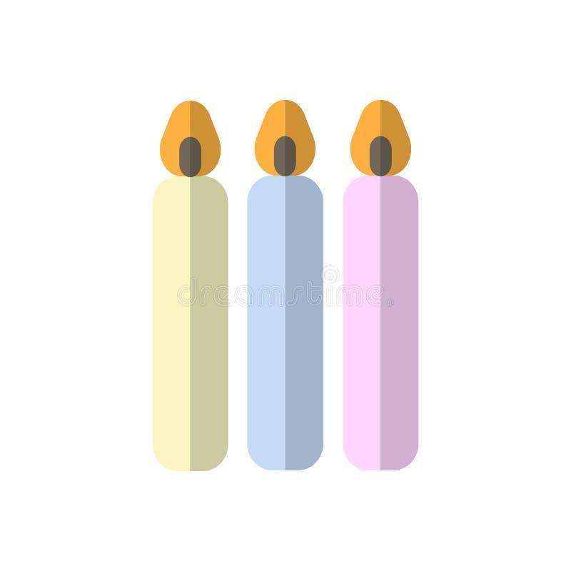 Kaarsen vlak pictogram, gevuld vectorteken, kleurrijk die pictogram op wit wordt geïsoleerd stock illustratie