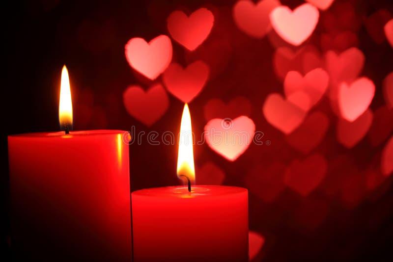 Kaarsen voor de Dag van de Valentijnskaart royalty-vrije stock foto's