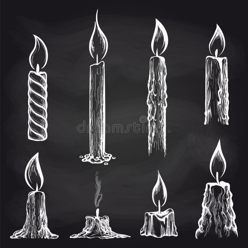 Kaarseninzameling op bord stock illustratie