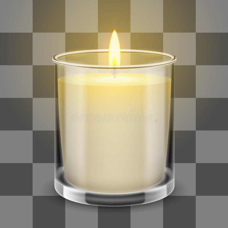 Kaarslicht in een rechte glaskruik vector realistische illustratie vector illustratie