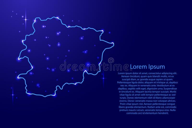 Kaart Andorra van de blauwe, lichtgevende ruimtesterren van het contourennetwerk vector illustratie
