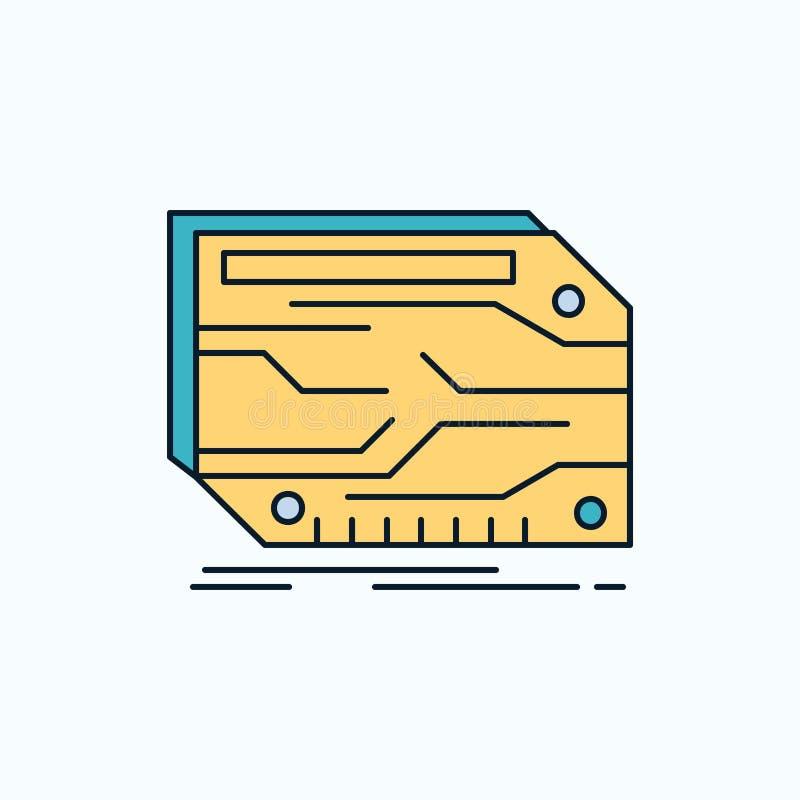 kaart, component, douane, elektronisch, geheugen Vlak Pictogram groene en Gele teken en symbolen voor website en Mobiele appliati royalty-vrije illustratie
