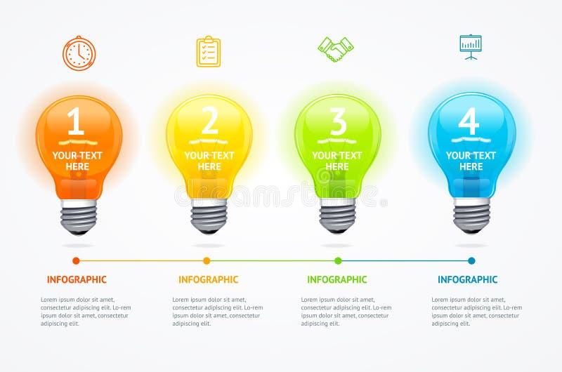 Kaart de Elektrische Gloeilampenbanner van de de bedrijfs van Infographic Vector stock illustratie