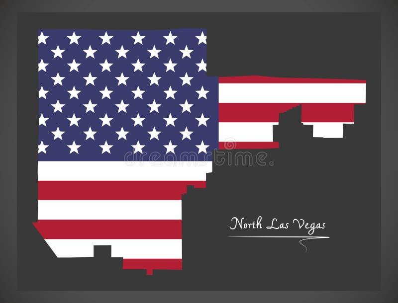 Kaart de Noord- van Las Vegas Nevada City met Amerikaanse nationale vlagillustratie stock illustratie