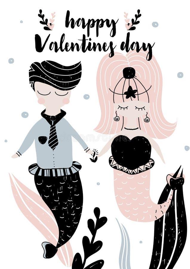 Kaart die met kalligrafie gelukkige valentijnskaartendag en paar van meerminnen in Skandinavische stijl van letters voorzien Vect vector illustratie