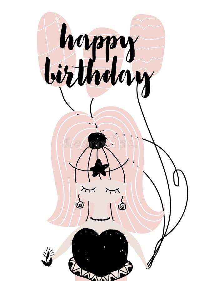 Kaart die met kalligrafie gelukkige verjaardag in Skandinavische stijl met meermin van letters voorzien Vectordieillustratie op p royalty-vrije illustratie