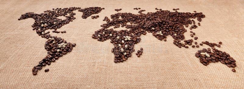 Kaart die van koffie wordt gemaakt royalty-vrije stock afbeelding