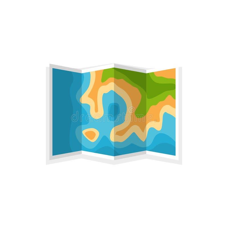 Kaart in een vlakke stijl nearsighted Reis, wandeling en het kamperen Cartographz Route planning Vector illustratie vector illustratie