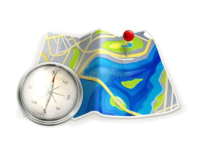 Kaart en kompas stock illustratie
