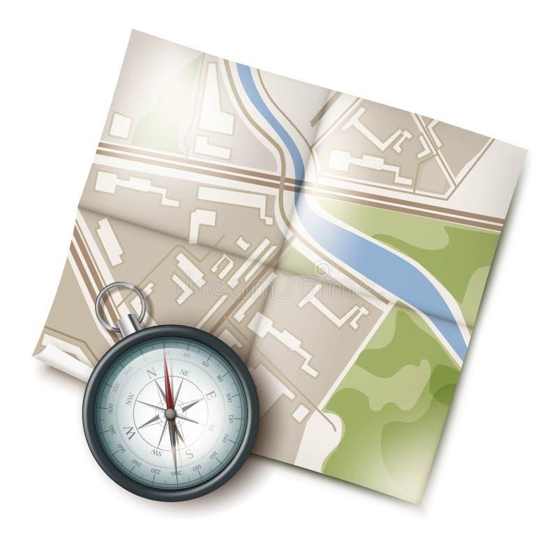 Kaart en Kompas vector illustratie