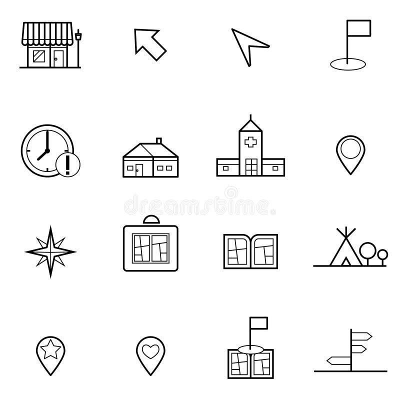 Kaart en Plaatspictogrammen geplaatst vectorillustratie vector illustratie