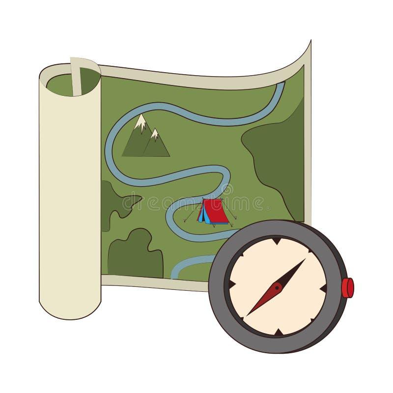 Kaart en routes met kompas van hand royalty-vrije illustratie