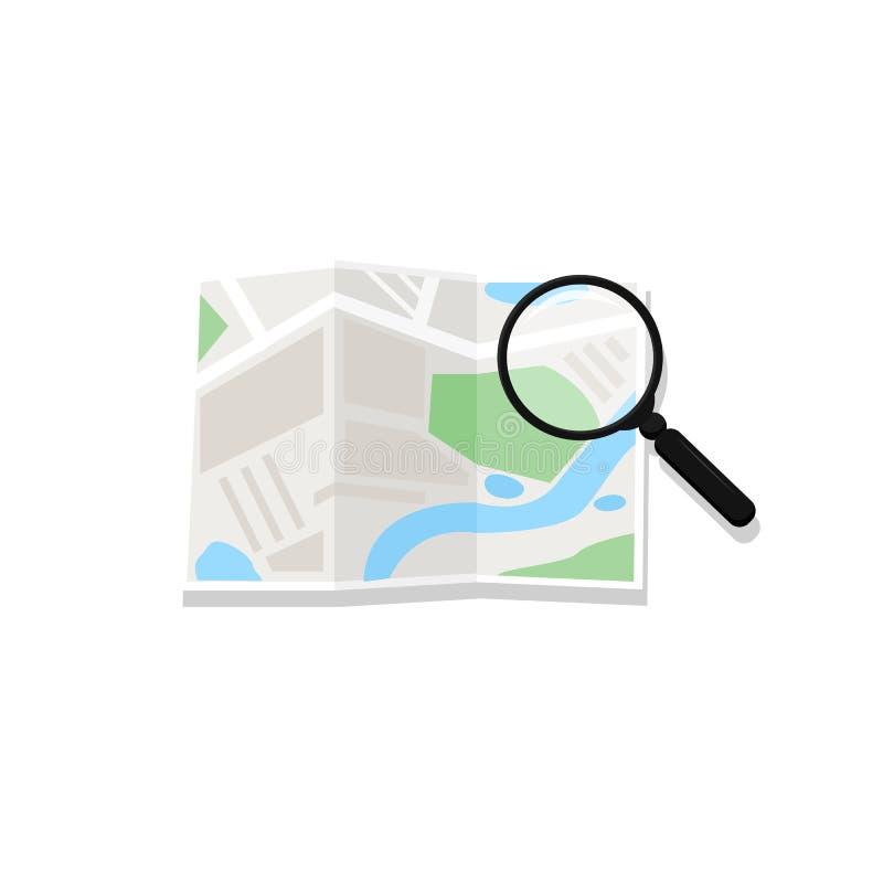 Kaart en vergrootglas Vector Vergrootglas het raadplegen wegenkaart De route van de conceptenreis planning Zoek over navigatiekaa royalty-vrije illustratie