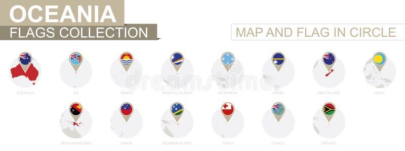 Kaart en Vlag in Cirkel, de Inzameling van de Landen van Oceanië royalty-vrije illustratie