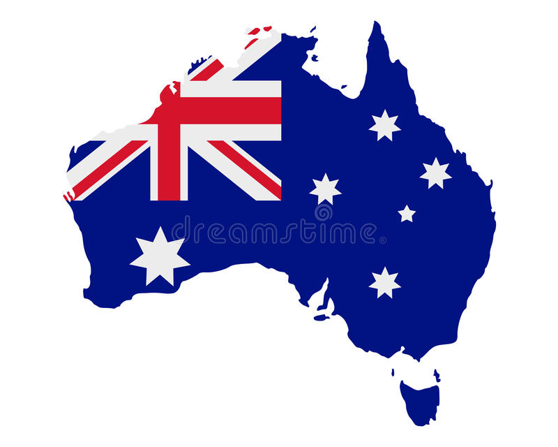 Kaart en vlag van Australië stock illustratie