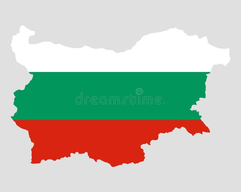Kaart en vlag van Bulgarije royalty-vrije illustratie